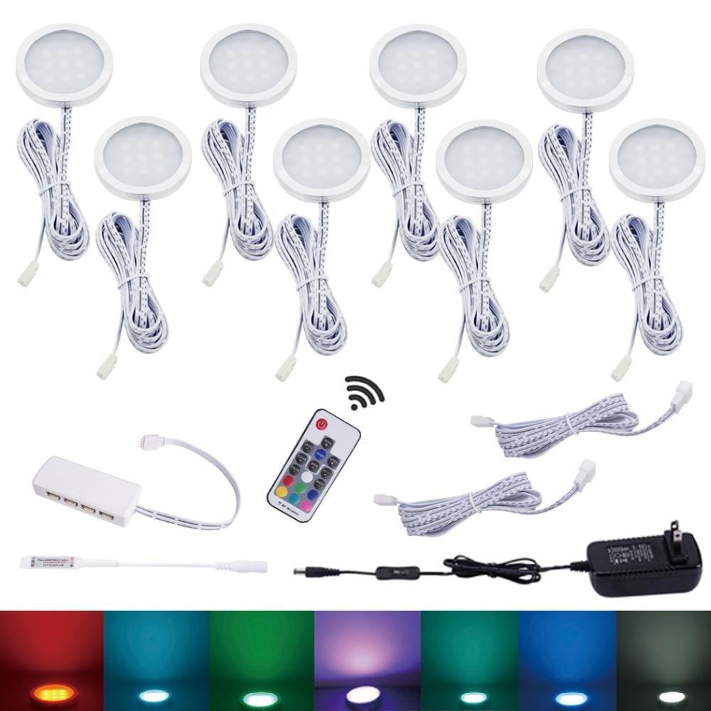 Aiboo 8 RGB LED à couleur changeante sous le meuble éclairage Puck lumières sans fil gradation pour cuisine comptoir meubles étagère éclairage