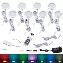 Aiboo 8 RGB Đổi Màu Đèn LED Dưới Tủ Chiếu Sáng Puck Đèn Không Dây Dimming Cho Bếp Đồ Nội Thất Kệ Chiếu Sáng