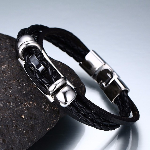 גברים של קלוע קסם עור צמידי ב שחור צמיד לגברים S דק לערום כסף טון צינור זכר תכשיטי 8.6 אינץ
