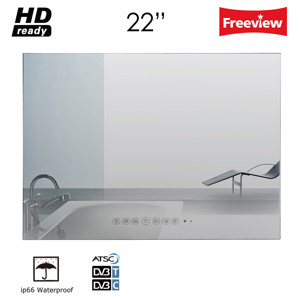 Souria 22 tommer Magic Vanishing Mirror Vandtæt Badeværelse Tv Brus - Hjem lyd og video - Foto 1
