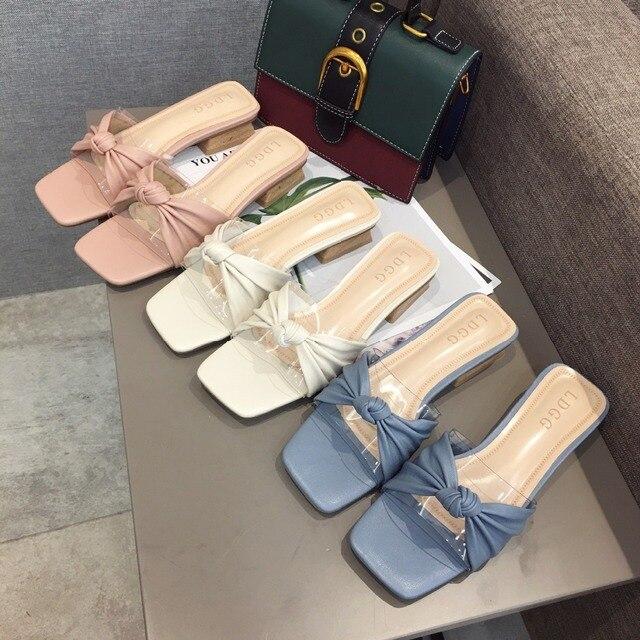 3710a7907152 Обувь на блочном каблуке Босоножки прозрачном с бантиком бабочкой в  Корейском ...