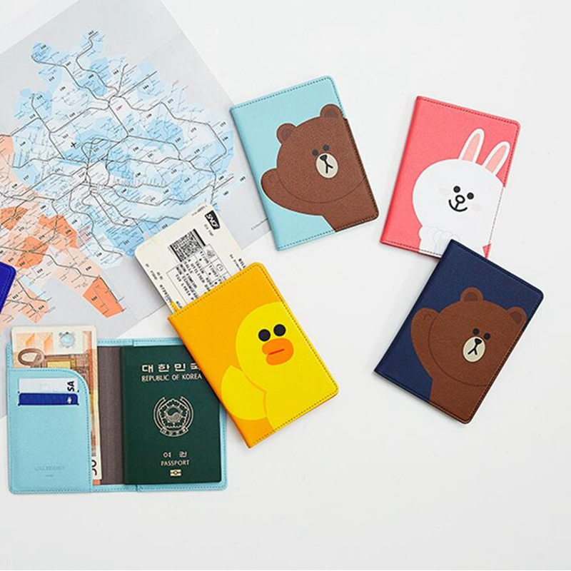 Animal Passport Cover Cartoon Bear Passport Holder Travel Accessories Credit Id Card Holder Case Women Men Business Pass Holder cartoon sofia travel passport cover bag cute hello kitty credit card id holders men women card holder high quality