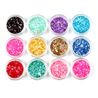 12 Colors Acrylic Nail Powder Crushed Shell Chips Dust Paillette Sequins Manicure Set Nail Art Glitter Decoration Tools