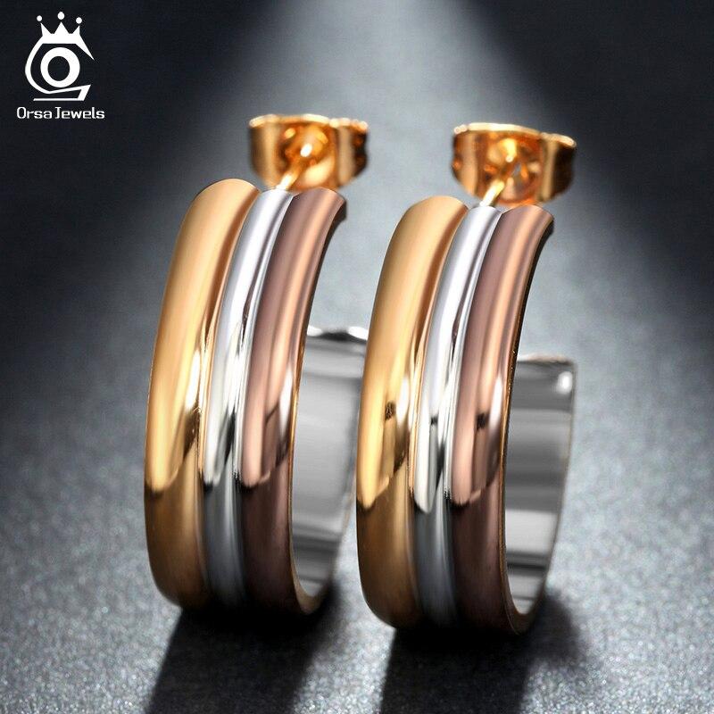 Orsa jewels silver color y colores y oro rosa de color de oro grandes pendientes