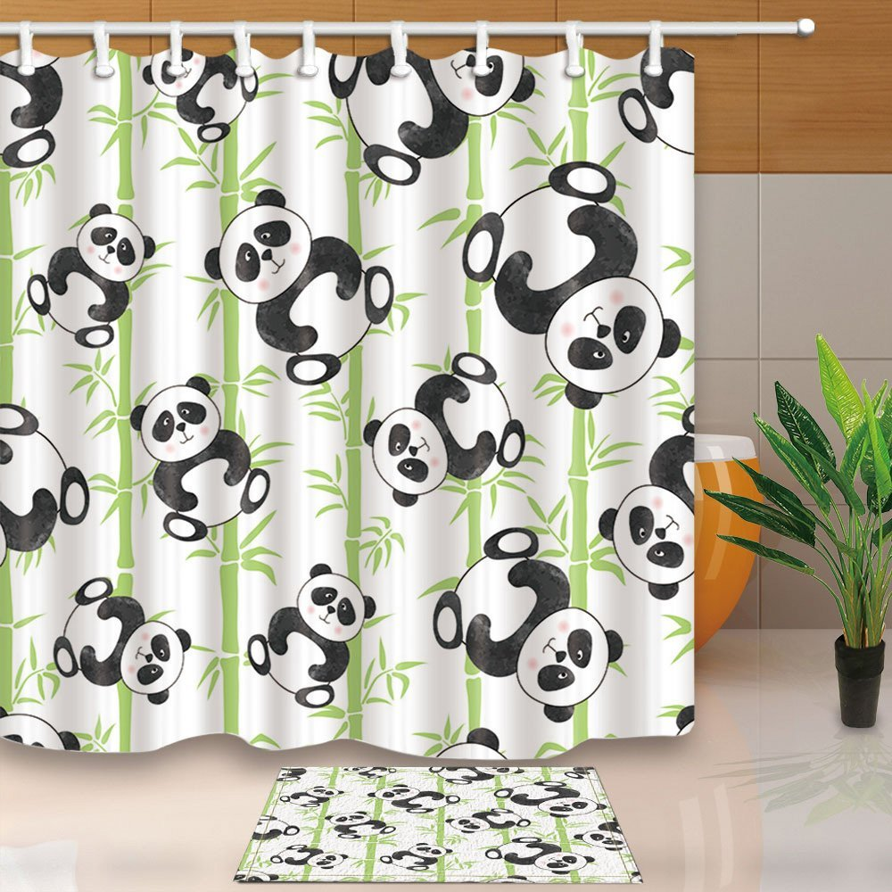 Cute Cartoon Panda Bears And Bamboo Mildew Resistant Polyester Fabric Shower Curtain Suit Flannel Doormat Bath Rugs