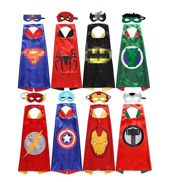 Conjuntos conjuntos 8 5 4 define Crianças Trajes Superhero capes Capes com Feltro Máscaras para crianças festa de aniversário das Crianças dia das bruxas cosplay