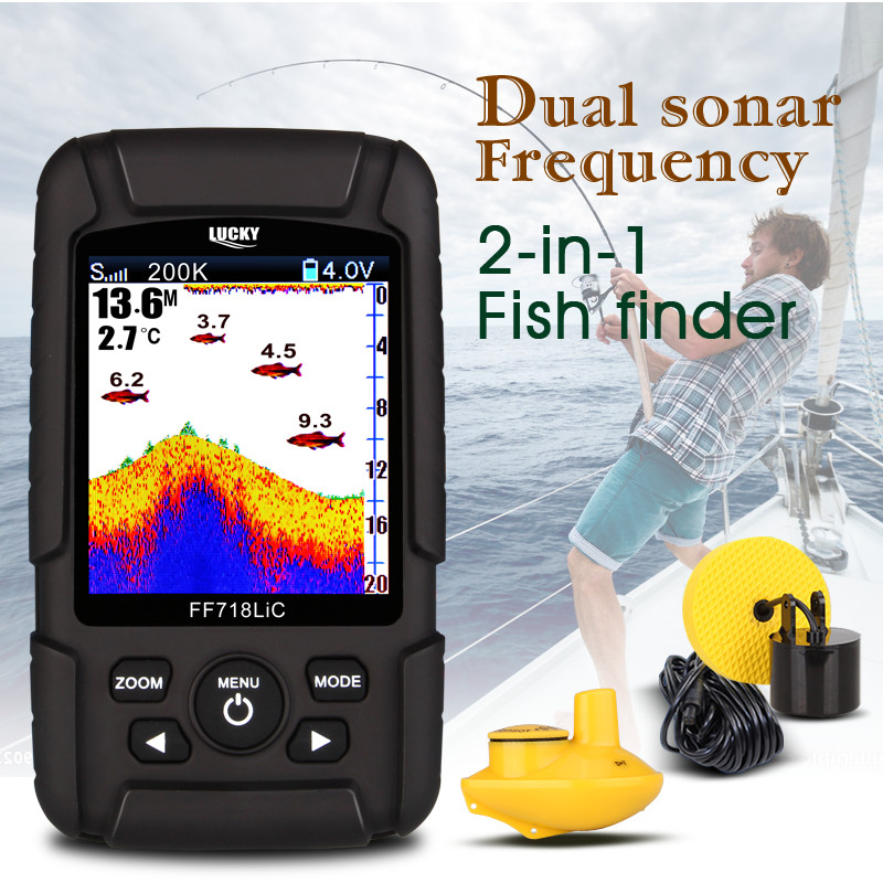 """Image 3 - LUCKY FF718LiCD 200KHz/83KHz 45 100M Dual Frequency 2 in 1 Fish Finder 2.8"""" Color LCD  Fishfinder Echo Sounder Sonar for Fishing-in Fish Finders from Sports & Entertainment"""