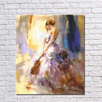 Picture On Wall High Quality 100% Handmade no Frame Oil Painting on Canvas Wall Picture for Living Room Decor Beautiful Girl Art
