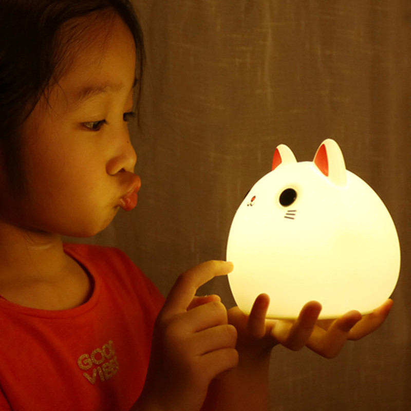 Cat LED Night Light Touch Sensor Colorful Silicone Animal Lamp USB Rechargeable Bedroom Bedside Lamp for Children Kids Baby Gift in Night Lights from Lights Lighting