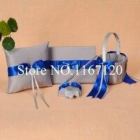 2014 כסף אפור ורויאל Bowknot הכחול חתונת ספר אורחים עט סט טבעת מחזיק כרית סל חתונת דקור (N8)