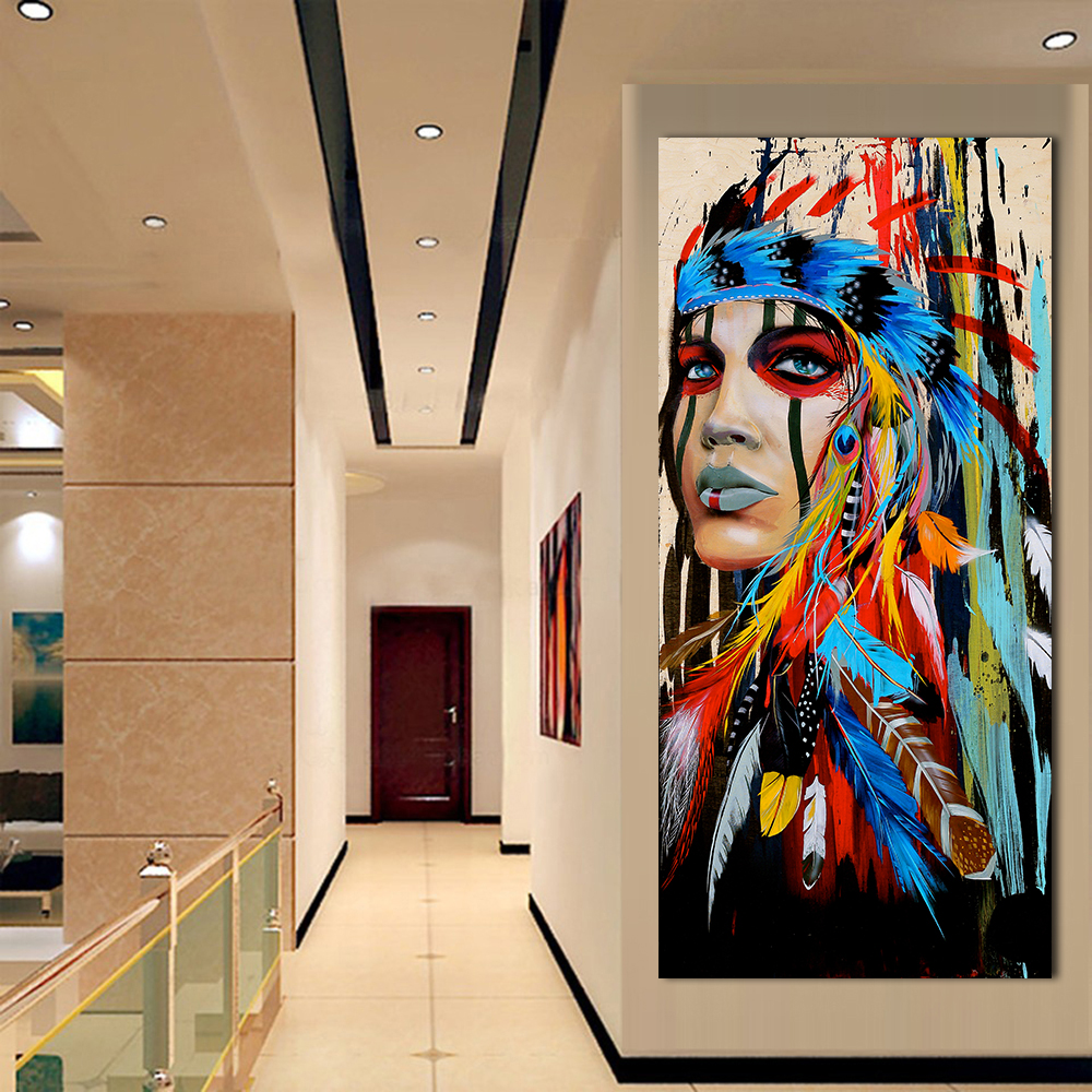 QKART Wall Art Canvas Pictures For Living Room Indian Woman Feathered Pride Painting Canvas Wall Art