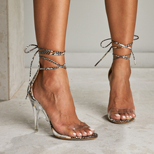 Liren 2019 Summer Fashion Sexy Cross-tie Lace-up Snake Pattern Sandals High Thin Heels Gladiator Women Party Shoes