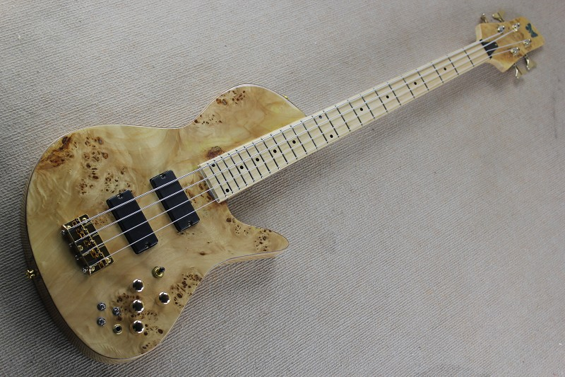 Custom Shop Natural Wood Burl One Piece Neck Maple fingerboard Fodera Butterfly 4 Strings Electric Bass Guitar free shipping 81 free shipping one piece neck through active pickups 5 strings electric bass guitar fodera butterfly ash 121222