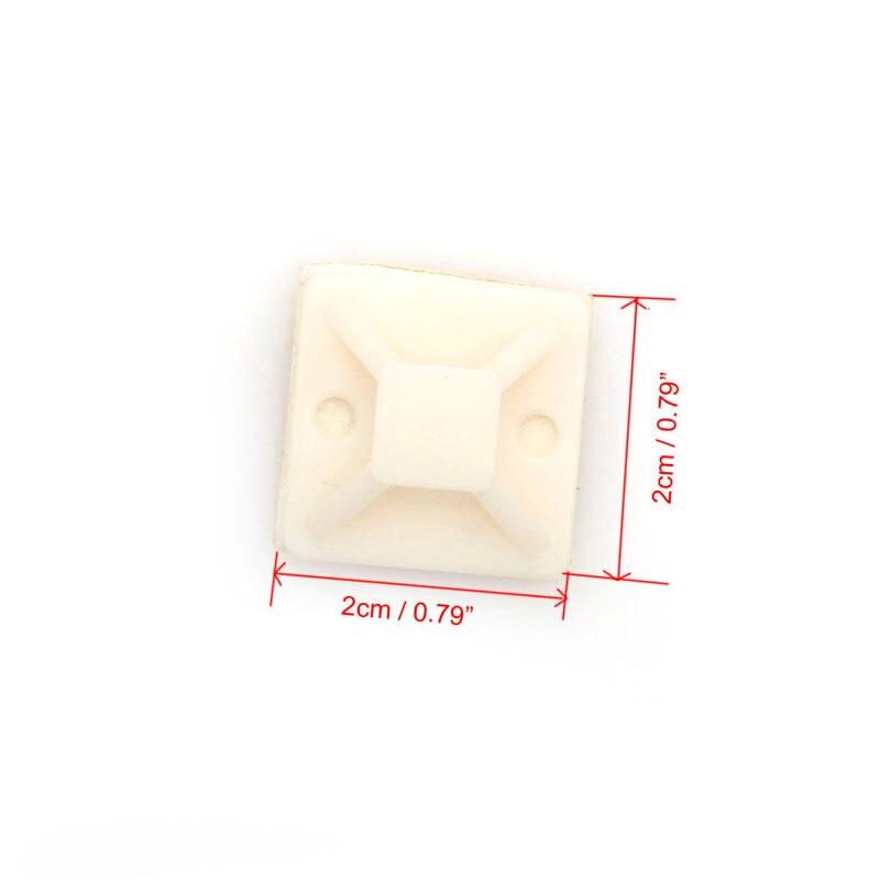 100 шт. самоклеющиеся кабельные нейлон молния галстук монтирует монтажное основание зажимы 20*20 мм-y103