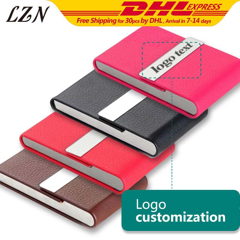 LZN Special Style Business Name Credit Card Holder Fashion Unisex Card Case Free Laser Engraved Name/Date/Text As Wedding Gifts
