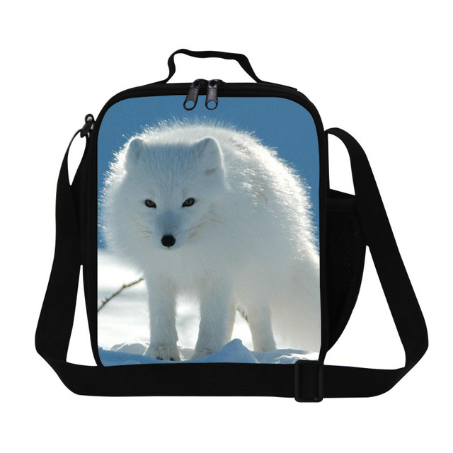 New Fashion Animal Kids Lunch Boxes White Fox 3D Printing Thermal Lunch Box For Boys and Girls Personalized Food Bags For Office