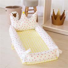 Baby Nest Bed Crib 90CM Length Portable Crib Travel Bed For Children Infant Kids Cotton Cradle For Newborn Baby Bassinet bumper(China)