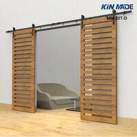 KIN MADE Heavy Duty Rustic Black Double sliding barn door sliding track hardware