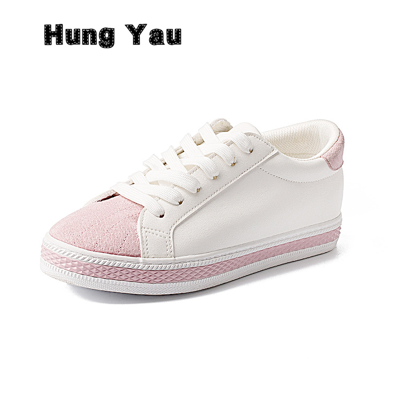 Hung Yau Women Loafers Casual Shoes Ladies Dress Flats Round Toe Shallow White Slip-on Walking Comfortable Pink Shoes Plus Size8