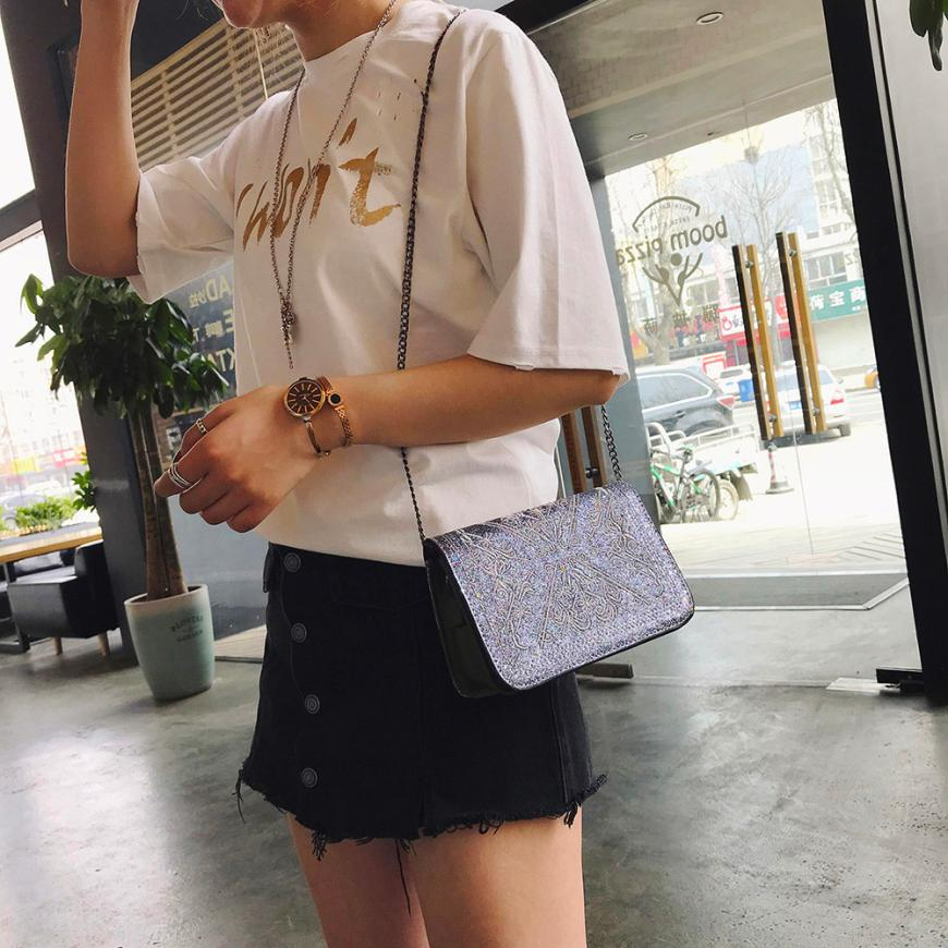 Для женщин мода блесток вышитые декоративные сумка женская сплошной цвет пряжки небольшой площади сумка # F