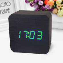 Control Sensing Alarm Display Electronic LED Clock Vintage Wooden Digital Alarm Clock