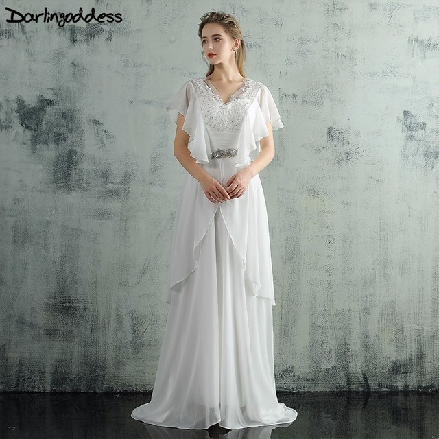 Us 109 2 35 Off Darlingoddess Vintage Chiffon Beach Wedding Dresses 2017 Lace Appliques Corset Elegant Bohemian Wedding Gowns Robe De Mariage In