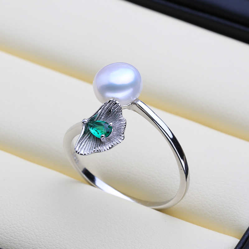 FENASY อินเทรนด์สีเขียวหิน Shell Shape แหวนเงินแท้ 925 ประดับมุกแท้ไข่มุกน้ำจืดธรรมชาติแหวนผู้หญิง
