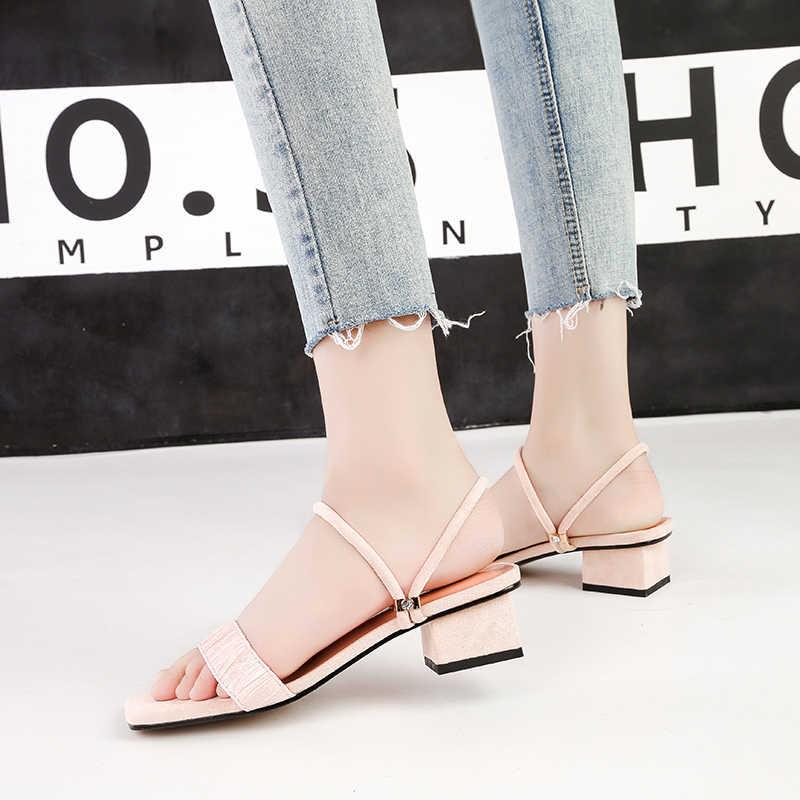 2019 г., летние женские босоножки на высоком каблуке 3,5 см, шали, два способа ношения, сандалии женские шлепанцы на толстом низком каблуке