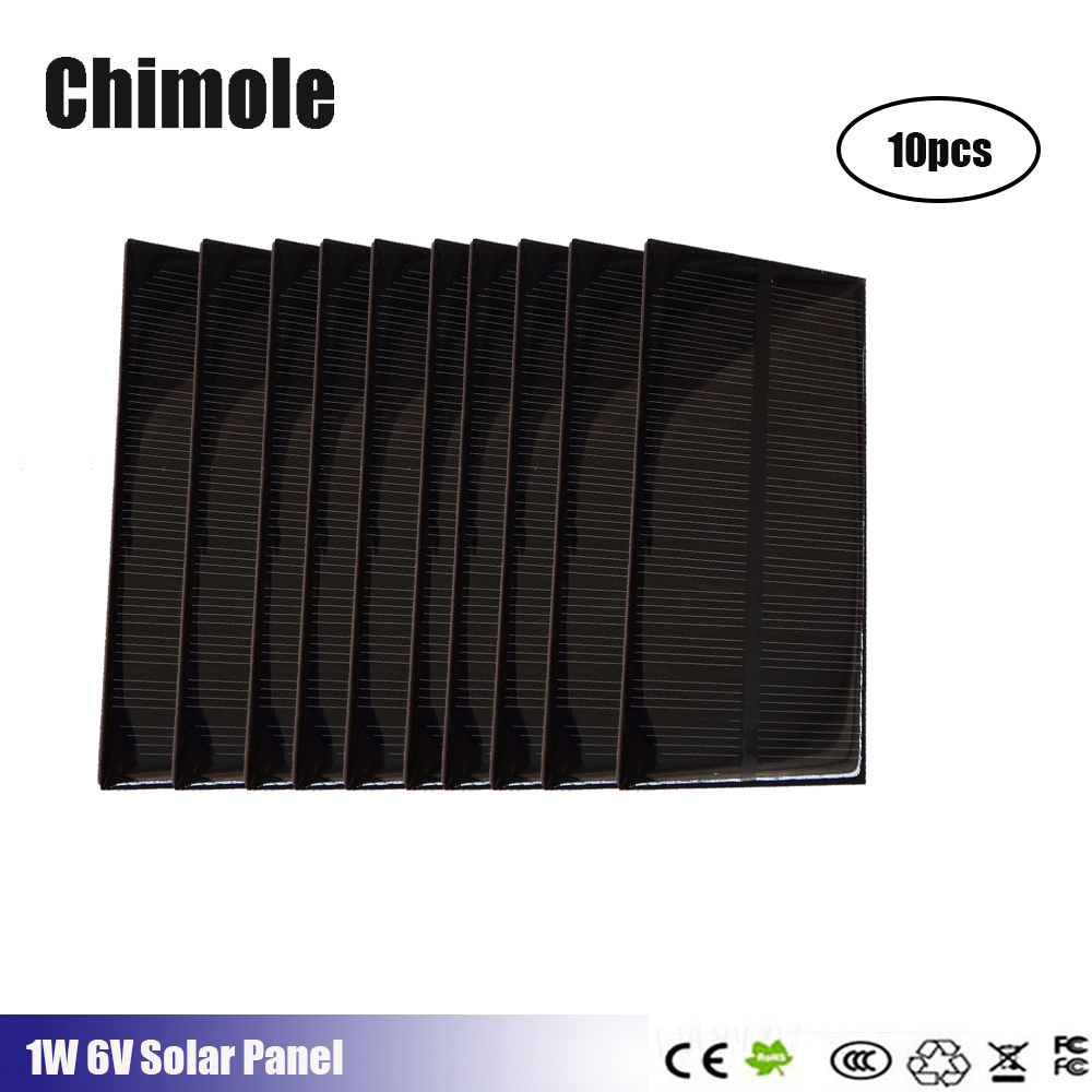 10pcs 5v 1Watt 200mah 125*63mm Monocrystalline Stored Energy Power Solar Panel cell Module Solar Cells DIY kit Charger