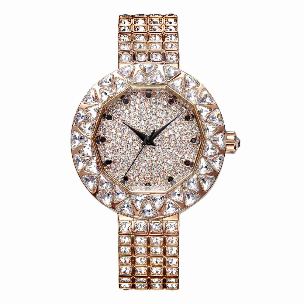 MATISSE Lady Full Crystal Bezel Dial Steel Strap Fashion Wristwatch Gold