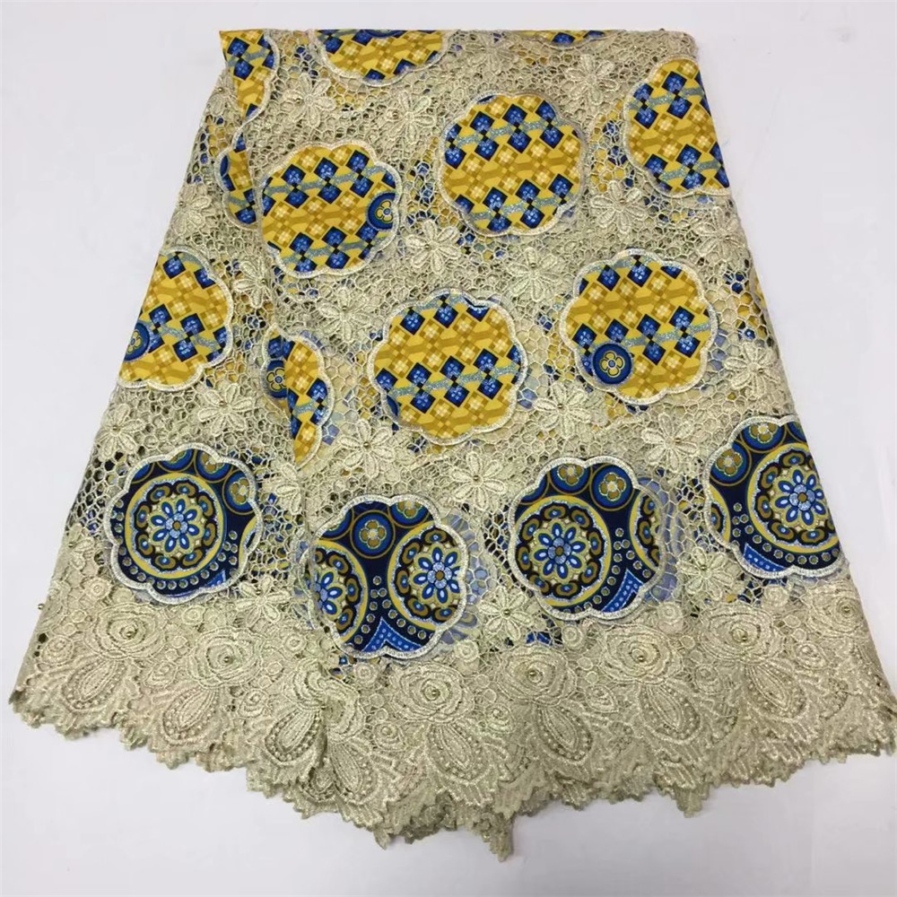 Ankara fabric new design african wax with cord lace embroidered wax prints fabric for women dress 5ayrds per lot X163-1Ankara fabric new design african wax with cord lace embroidered wax prints fabric for women dress 5ayrds per lot X163-1