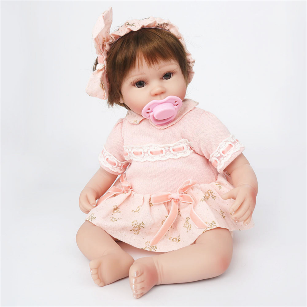 MINOCOOL Baby Cute Simulation Silicone Doll of the Reborn Baby Companion Doll with Beautiful Pink Dress Birthday Gift Bathe ToyMINOCOOL Baby Cute Simulation Silicone Doll of the Reborn Baby Companion Doll with Beautiful Pink Dress Birthday Gift Bathe Toy