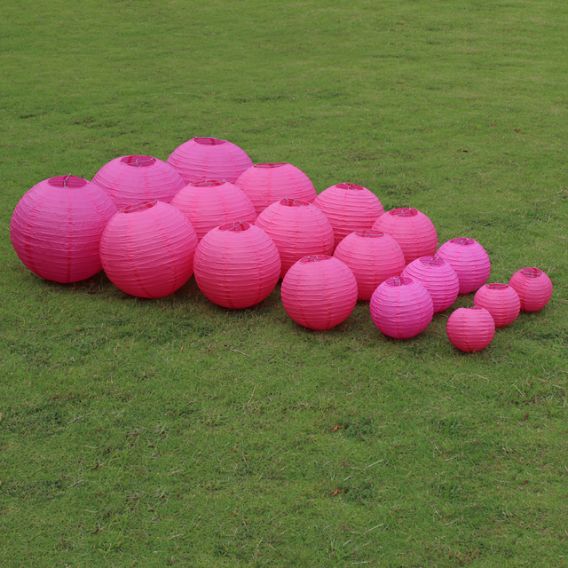 10 Pieces 6-8-10-12-14-16 Inch Hot Pink Chinese Paper Lanterns For Wedding Party Decoration Hanging Paper Lanterns