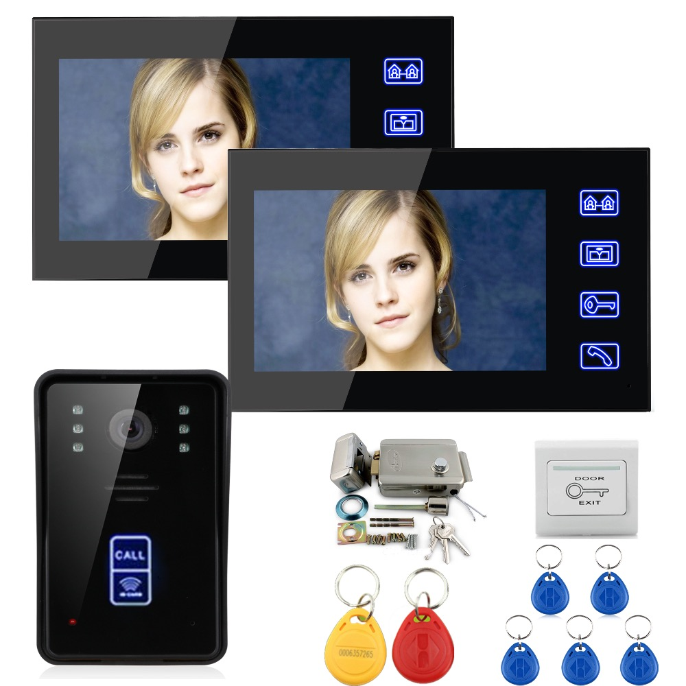 7 Wired Color Video Door Phone Intercom System 2 Monitor+1 Kit IR Night Vision Camera+Metal Electronic Door Lock+Exit Button 7 inch color tft video door phone doorbell intercom kit 2 camera 1 monitor night vision electric lock control mfbs