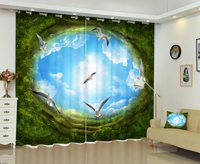 The Best 3D Curtains Bedding Room Window Curtain For Home To Find A New World Customized Size image