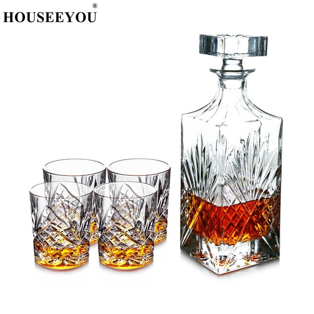 HOUSEEYOU Luxe Loodvrij Kristal Wijn Glazen Set 1 Decanter + 4 Graveren Kopjes Mooie Collection Transparante Bar Tool Sets-in Ouderwetse Glas van Huis & Tuin op  Groep 1