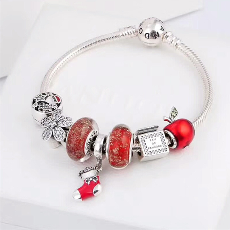 factory wholesale 2018 new style 925 Sterling Silver Beads bracelet hand Jewelry same as Pandorl brand red beads Bracelet gril