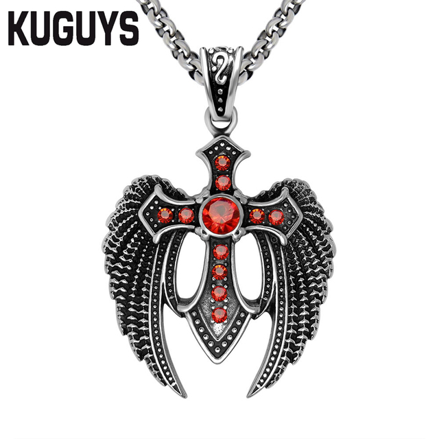 Kuguys wing pendants for mens jewelry vintage cross red rhinestone kuguys wing pendants for mens jewelry vintage cross red rhinestone large pendant necklace punk motorcycle gangs mozeypictures Images