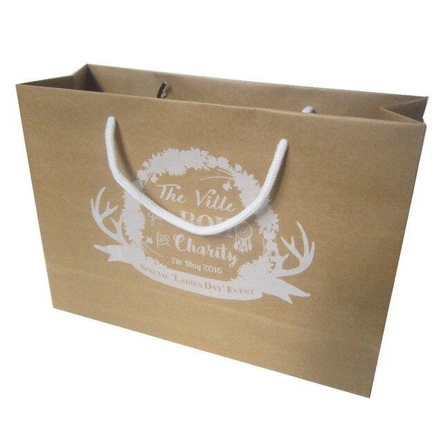 Perfect 22*31*10cm 200pcs/lot Brown Kraft Paper Bag Cotton Rope Handle Custom