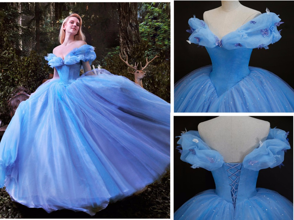 2016 Movie Cinderella Dress Cinderella Wedding Dress Blue