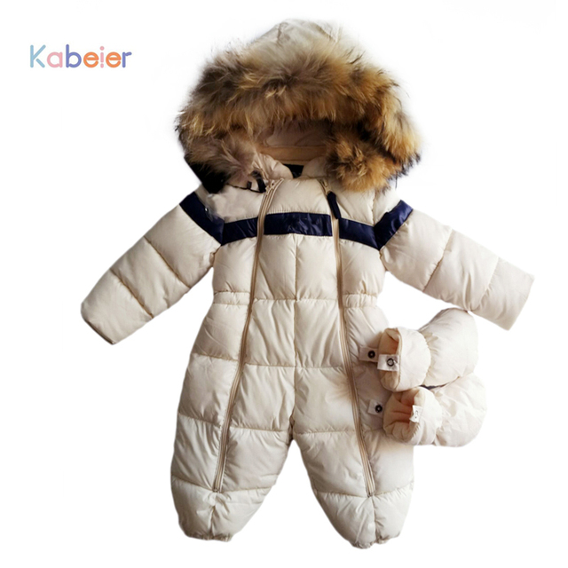 7eefa7f06 Baby Rompers Winter Thick Boys Costume Girls Warm Infant Snowsuit ...