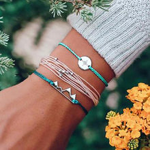 Crystal Cuff Brand Bohemian Wax Line Beaded Hemp Rope Compass Hollow Mountain Bracelet Three-piece Letter Design Best Zircon(China)