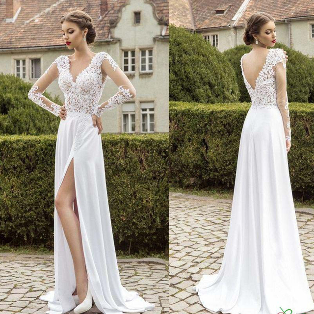 be220b80e05fc White Chiffon Lace A line Garden Wedding Dresses Long sleeve Sheer V neck  Sexy High Split