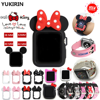 SANYU Cover for apple watch case series 3 2 1 38mm 42mm band protector for iWatch silicone cartoon design cover for Minnie bmw f30 akrapovic auspuffblende