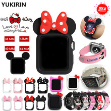 YUKIRIN Cute Kitty Cat Minnie Mickey Silicone Case for Apple Watch Series 4 3 2 1 Leather Band for iWatch 38 42 40 44mm Kid Girl(China)