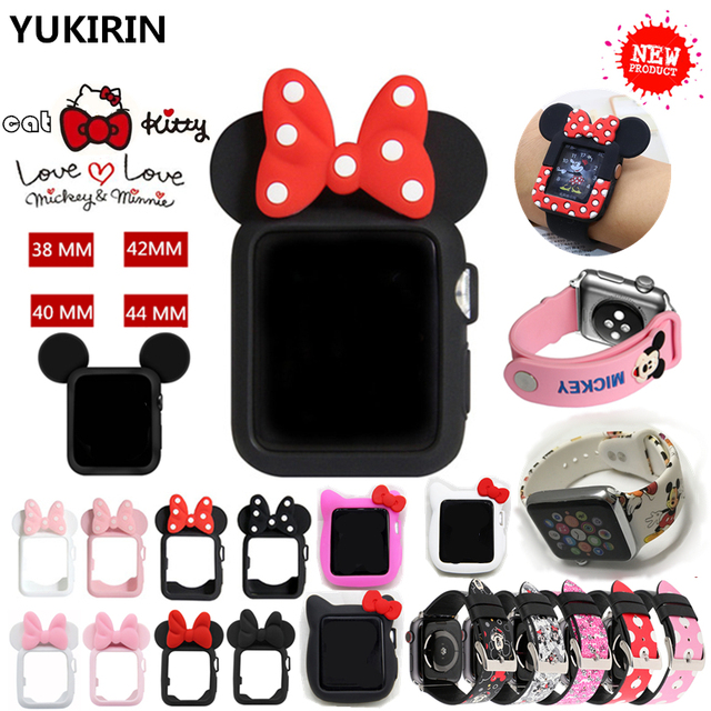 low priced b2e9f 8d798 US $1.58 20% OFF|YUKIRIN Cute Kitty Cat Minnie Mickey Silicone Case for  Apple Watch Series 4 3 2 1 Leather Band for iWatch 38 42 40 44mm Kid  Girl-in ...