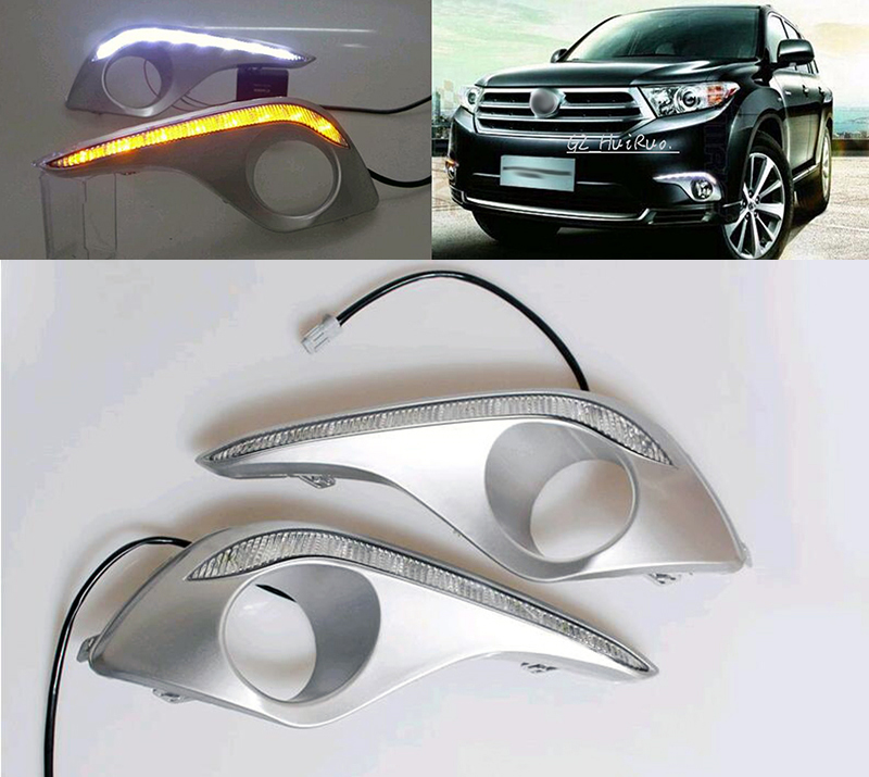 цены Daytime Running Light For Toyota Highlander 2011 2012 2013 with amber turn signals light