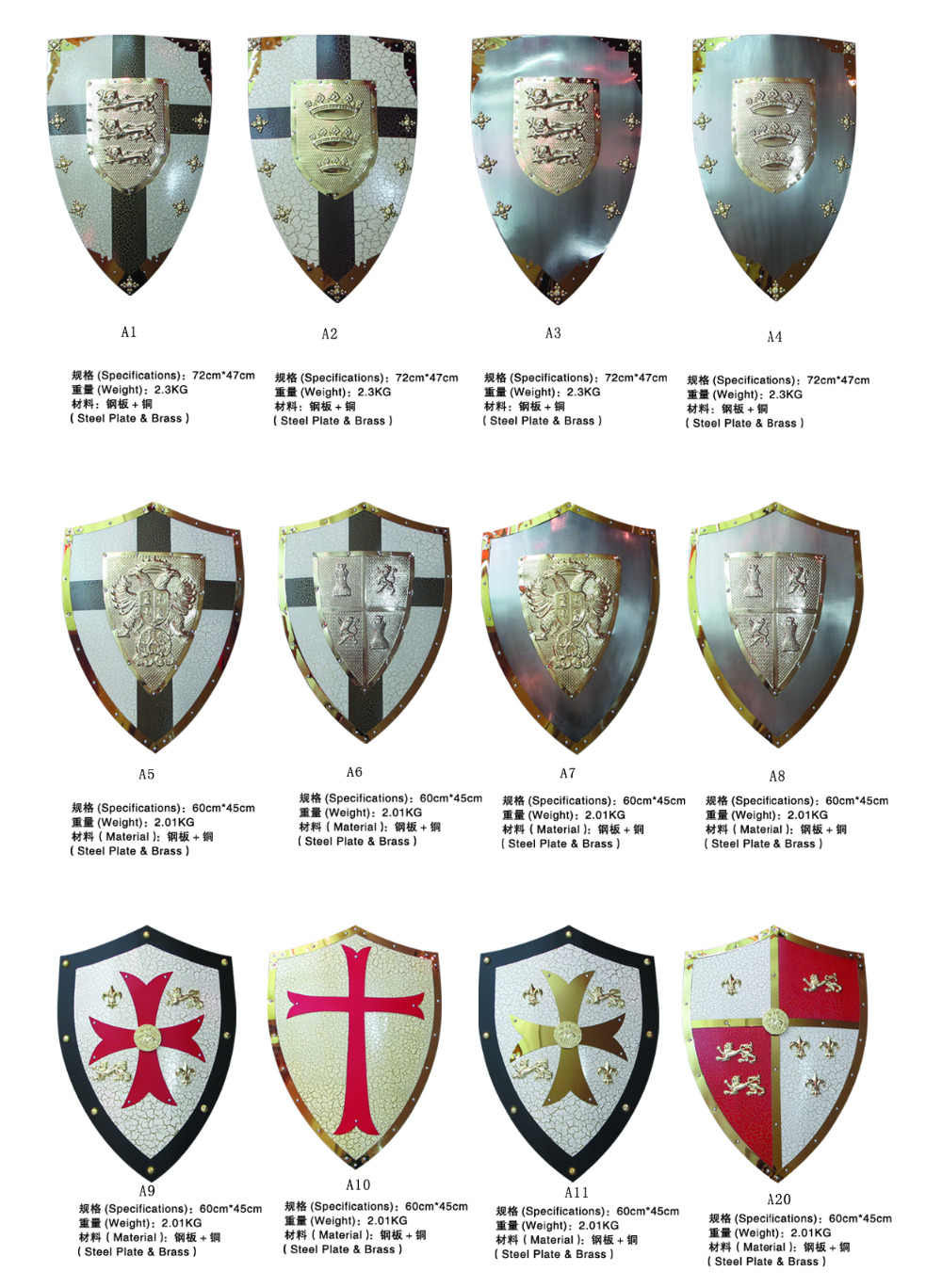 Medieval Shield For Movie Knights Templar Red Cross Shields Real Steel Hand  Crafted White +Red Color Hand-Held
