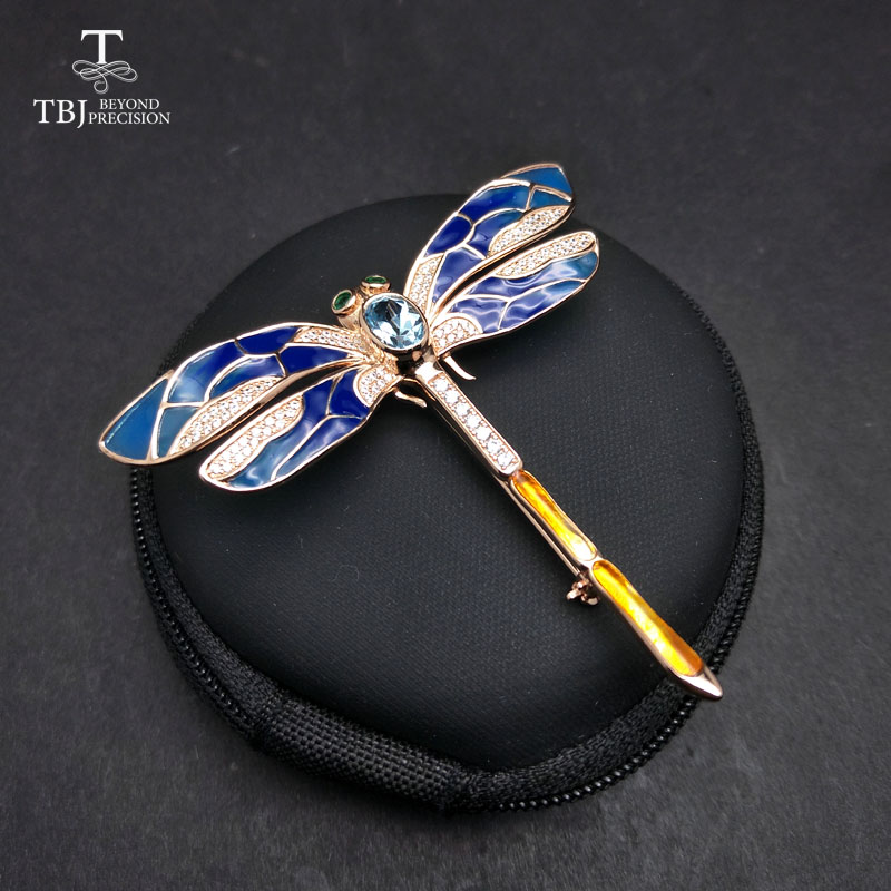 TBJ,dragonfly design brooch with natural topaz in 925 sterling silver yellow gold color , best gift for women girls lady wife chic faux gem inlay dragonfly shape brooch for women