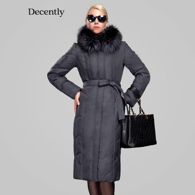 Decently 2015 Winter Jacket Women Duck Down Thick parka Lengthen blouses Woman Coat RUS Free Shipping Fox Fur Collar 7191-6